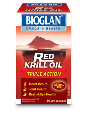 Bioglan Red Krill Oil Triple Action supports heart, joint and overall health.