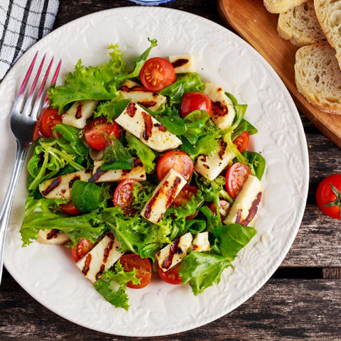 Bean and Grilled Haloumi Salad